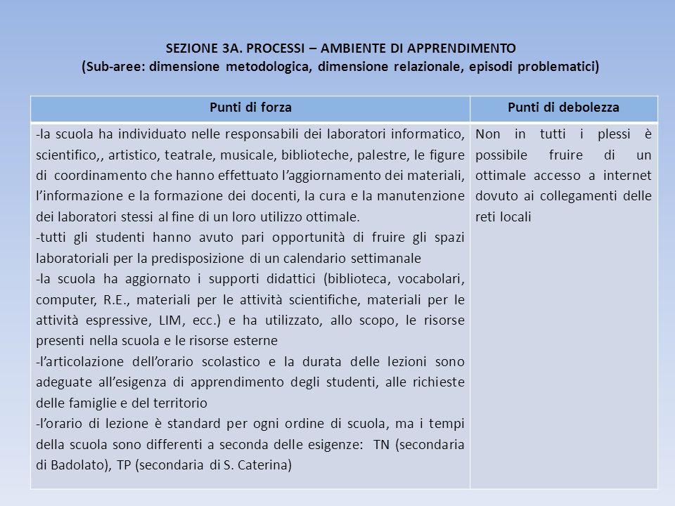 SEZIONE 3A. PROCESSI – AMBIENTE DI APPRENDIMENTO (Sub-aree: dimensione metodologica, dimensione relazionale, episodi problematici) Punti di forzaPunti