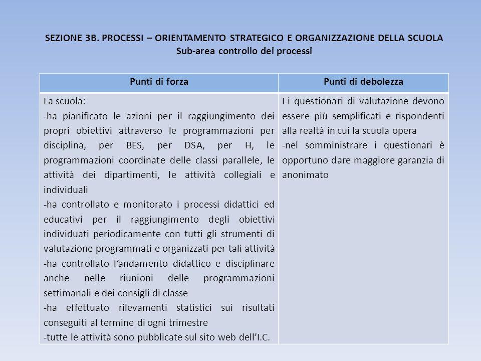 SEZIONE 3B. PROCESSI – ORIENTAMENTO STRATEGICO E ORGANIZZAZIONE DELLA SCUOLA Sub-area controllo dei processi Punti di forzaPunti di debolezza La scuol