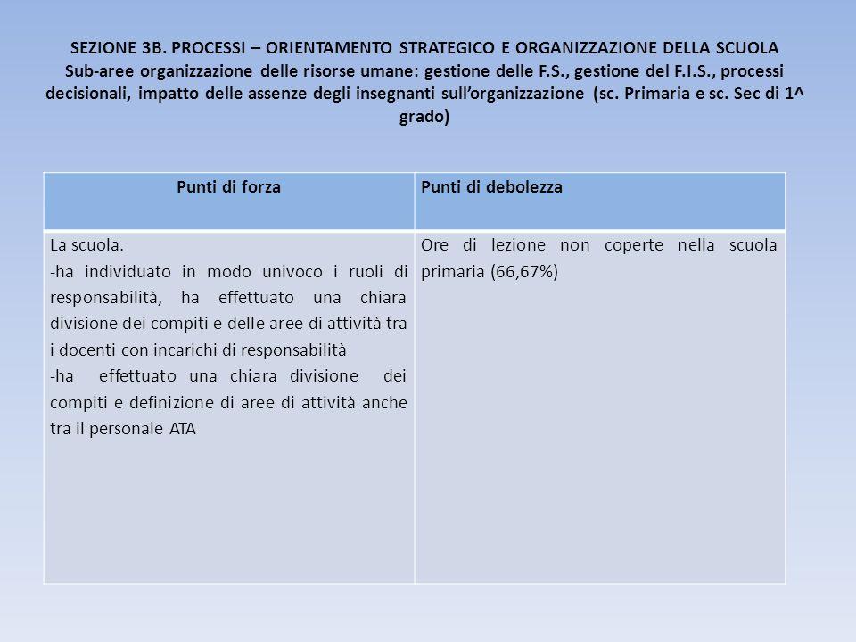 SEZIONE 3B. PROCESSI – ORIENTAMENTO STRATEGICO E ORGANIZZAZIONE DELLA SCUOLA Sub-aree organizzazione delle risorse umane: gestione delle F.S., gestion