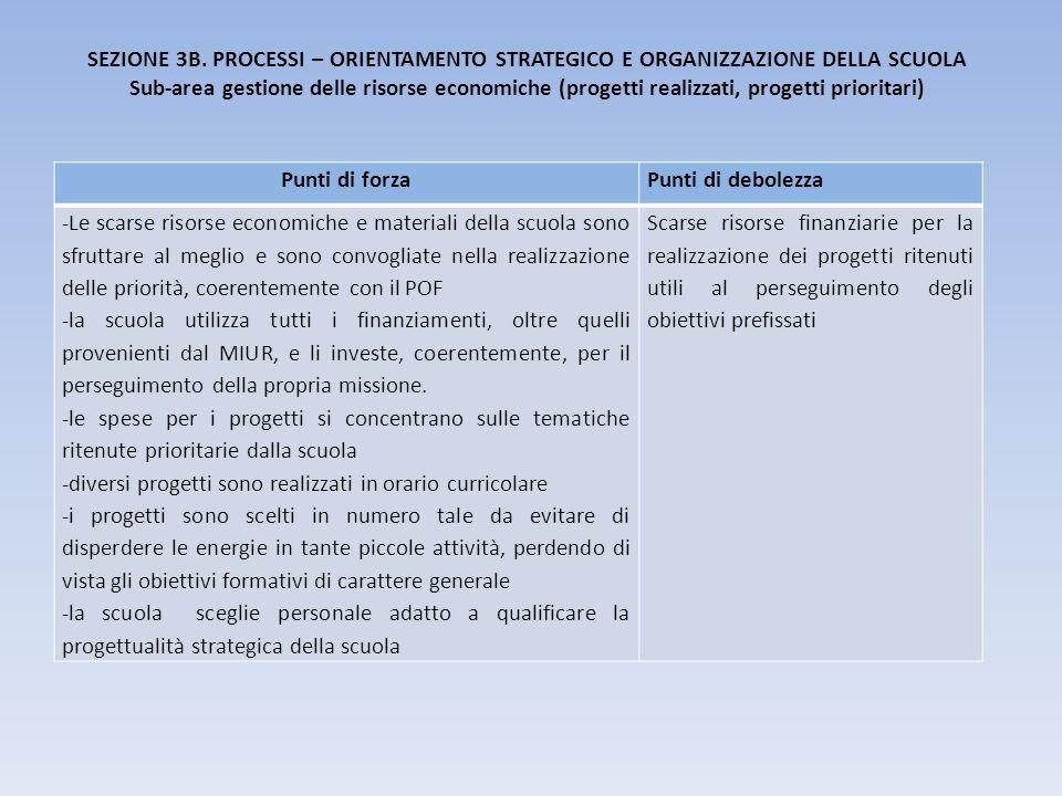 SEZIONE 3B. PROCESSI – ORIENTAMENTO STRATEGICO E ORGANIZZAZIONE DELLA SCUOLA Sub-area gestione delle risorse economiche (progetti realizzati, progetti