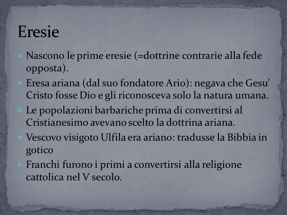 Nascono le prime eresie (=dottrine contrarie alla fede opposta).