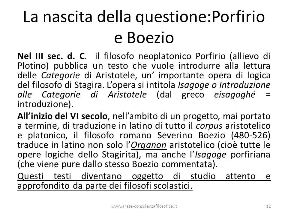 La nascita della questione:Porfirio e Boezio Nel III sec.