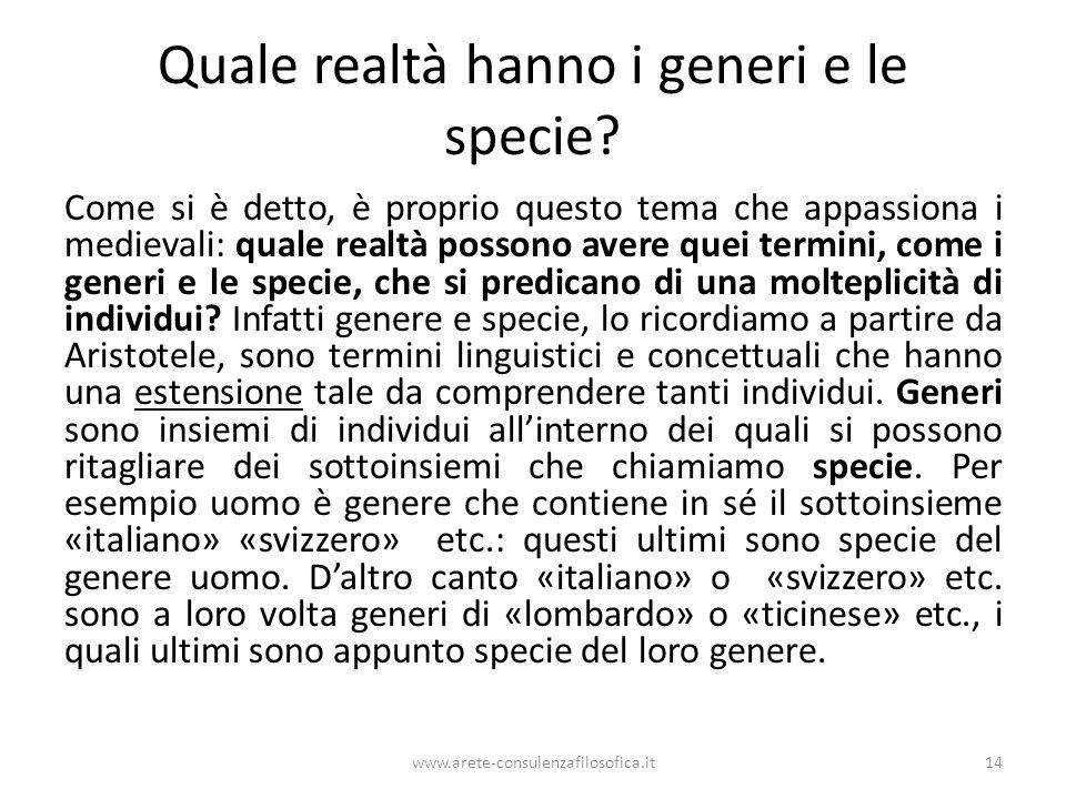 Quale realtà hanno i generi e le specie.