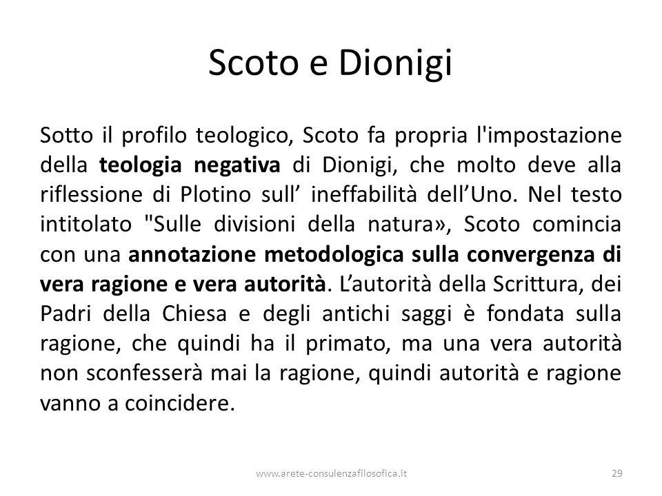 Scoto e Dionigi Sotto il profilo teologico, Scoto fa propria l impostazione della teologia negativa di Dionigi, che molto deve alla riflessione di Plotino sull' ineffabilità dell'Uno.