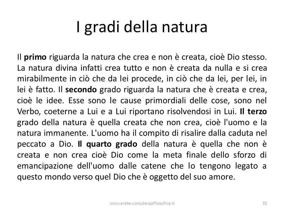 I gradi della natura Il primo riguarda la natura che crea e non è creata, cioè Dio stesso.