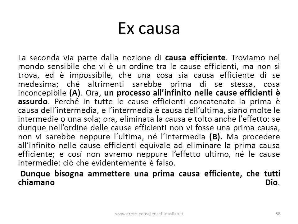 Ex causa La seconda via parte dalla nozione di causa efficiente.