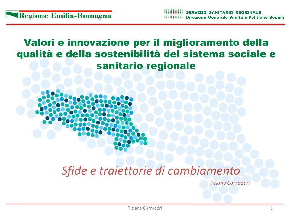 Tiziano Carradori1 Valori e innovazione per il miglioramento della qualità e della sostenibilità del sistema sociale e sanitario regionale Sfide e traiettorie di cambiamento Tiziano Carradori SERVIZIO SANITARIO REGIONALE Direzione Generale Sanità e Politiche Sociali