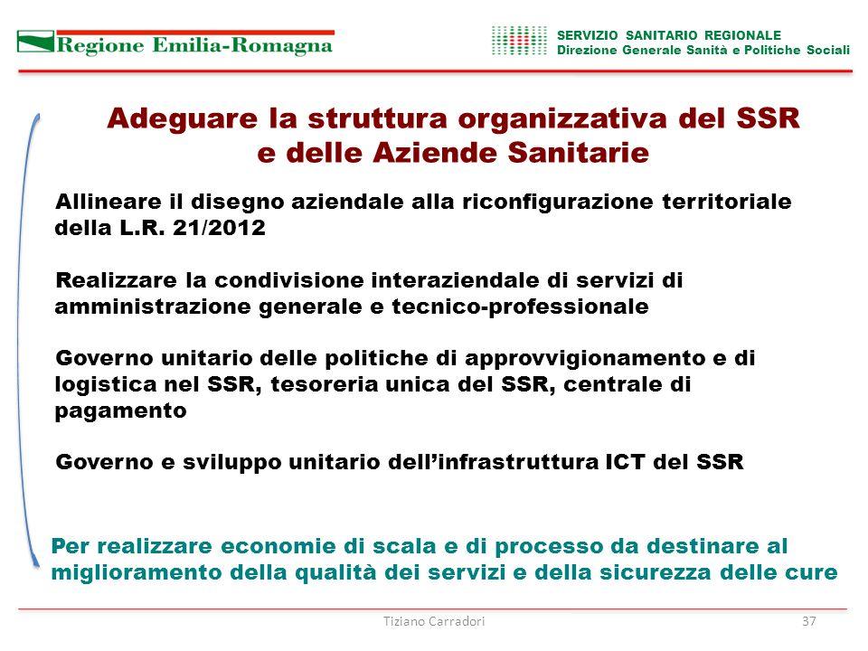 SERVIZIO SANITARIO REGIONALE Direzione Generale Sanità e Politiche Sociali Adeguare la struttura organizzativa del SSR e delle Aziende Sanitarie Allineare il disegno aziendale alla riconfigurazione territoriale della L.R.