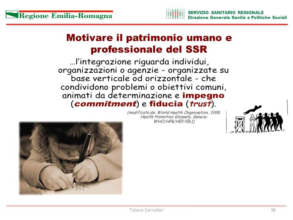 SERVIZIO SANITARIO REGIONALE Direzione Generale Sanità e Politiche Sociali 38 (modificato da: World Health Organisation, 1998.