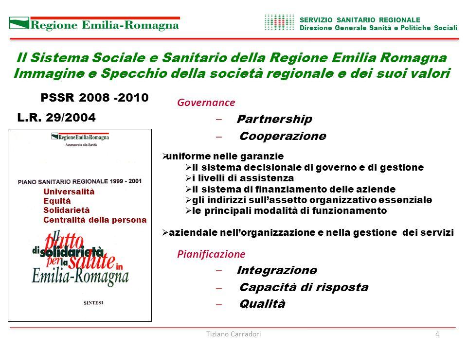 Il Sistema Sociale e Sanitario della Regione Emilia Romagna Immagine e Specchio della società regionale e dei suoi valori SERVIZIO SANITARIO REGIONALE Direzione Generale Sanità e Politiche Sociali Tiziano Carradori4 L.R.