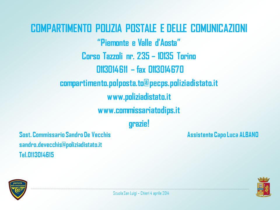 COMPARTIMENTO POLIZIA POSTALE E DELLE COMUNICAZIONI Piemonte e Valle d Aosta Corso Tazzoli nr.
