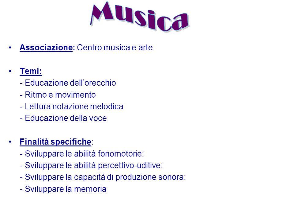 Associazione: Centro musica e arte Temi: - Educazione dell'orecchio - Ritmo e movimento - Lettura notazione melodica - Educazione della voce Finalità specifiche: - Sviluppare le abilità fonomotorie: - Sviluppare le abilità percettivo-uditive: - Sviluppare la capacità di produzione sonora: - Sviluppare la memoria