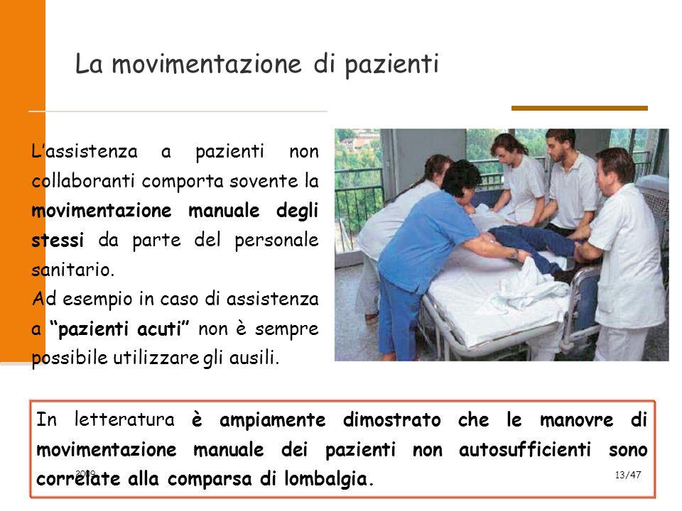 2009 13/47 La movimentazione di pazienti L'assistenza a pazienti non collaboranti comporta sovente la movimentazione manuale degli stessi da parte del