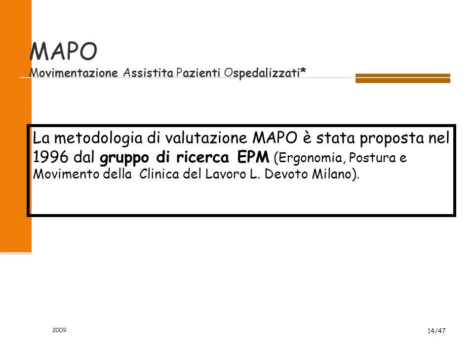 2009 14/47 MAPO Movimentazione Assistita Pazienti Ospedalizzati* La metodologia di valutazione MAPO è stata proposta nel 1996 dal gruppo di ricerca EP