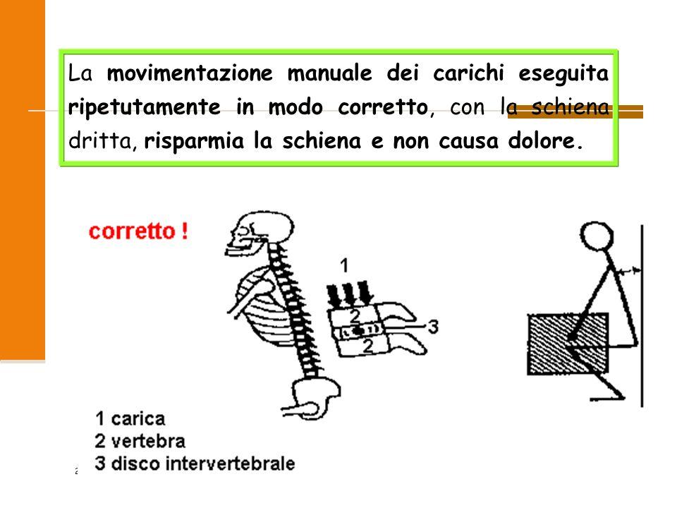 2009 2/47 La movimentazione manuale dei carichi eseguita ripetutamente in modo corretto, con la schiena dritta, risparmia la schiena e non causa dolor