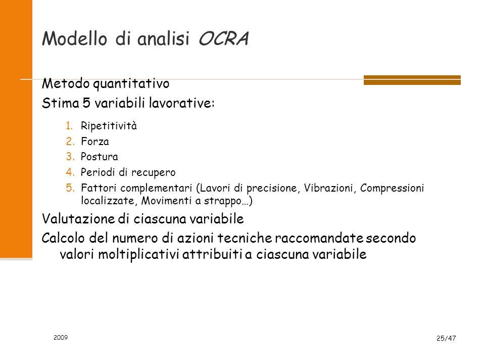 2009 25/47 Modello di analisi OCRA Metodo quantitativo Stima 5 variabili lavorative: 1.Ripetitività 2.Forza 3.Postura 4.Periodi di recupero 5.Fattori