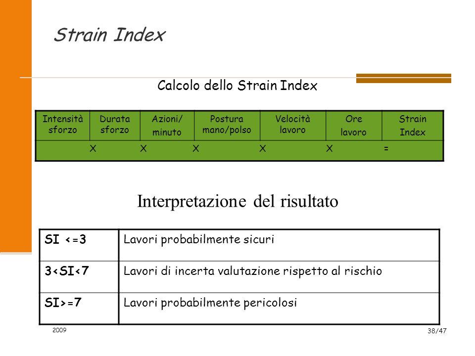 2009 38/47 Strain Index Calcolo dello Strain Index Intensità sforzo Durata sforzo Azioni/ minuto Postura mano/polso Velocità lavoro Ore lavoro Strain