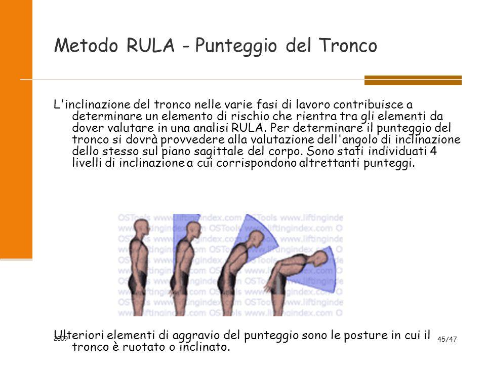 2009 45/47 Metodo RULA - Punteggio del Tronco L'inclinazione del tronco nelle varie fasi di lavoro contribuisce a determinare un elemento di rischio c