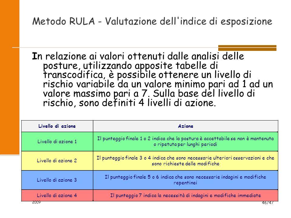 2009 46/47 Metodo RULA - Valutazione dell'indice di esposizione In relazione ai valori ottenuti dalle analisi delle posture, utilizzando apposite tabe