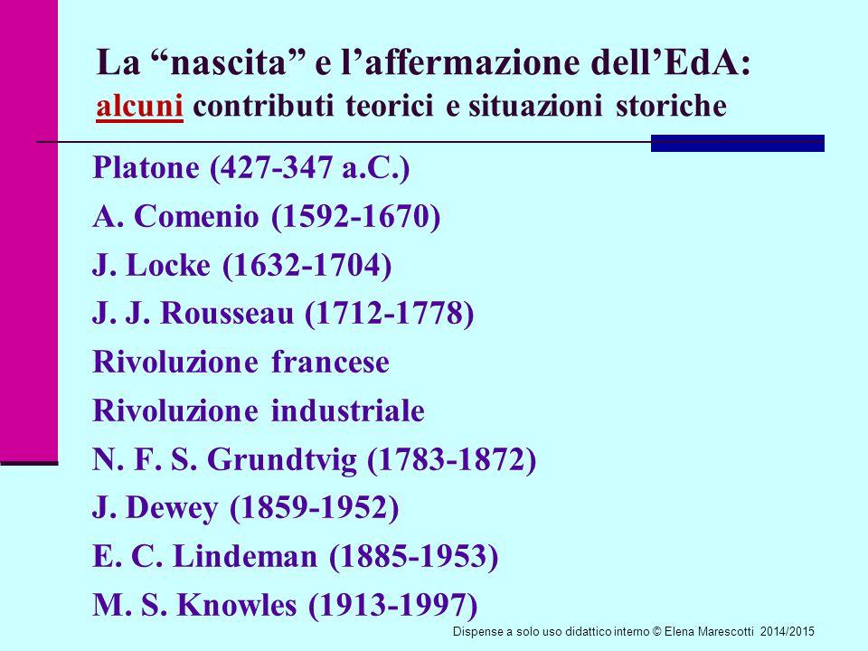 La nascita e l'affermazione dell'EdA: alcuni contributi teorici e situazioni storiche Platone (427-347 a.C.) A.