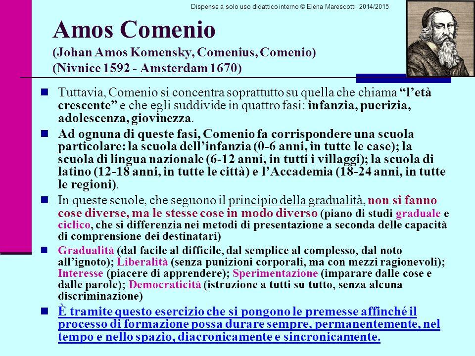 Amos Comenio (Johan Amos Komensky, Comenius, Comenio) (Nivnice 1592 - Amsterdam 1670) Tuttavia, Comenio si concentra soprattutto su quella che chiama l'età crescente e che egli suddivide in quattro fasi: infanzia, puerizia, adolescenza, giovinezza.