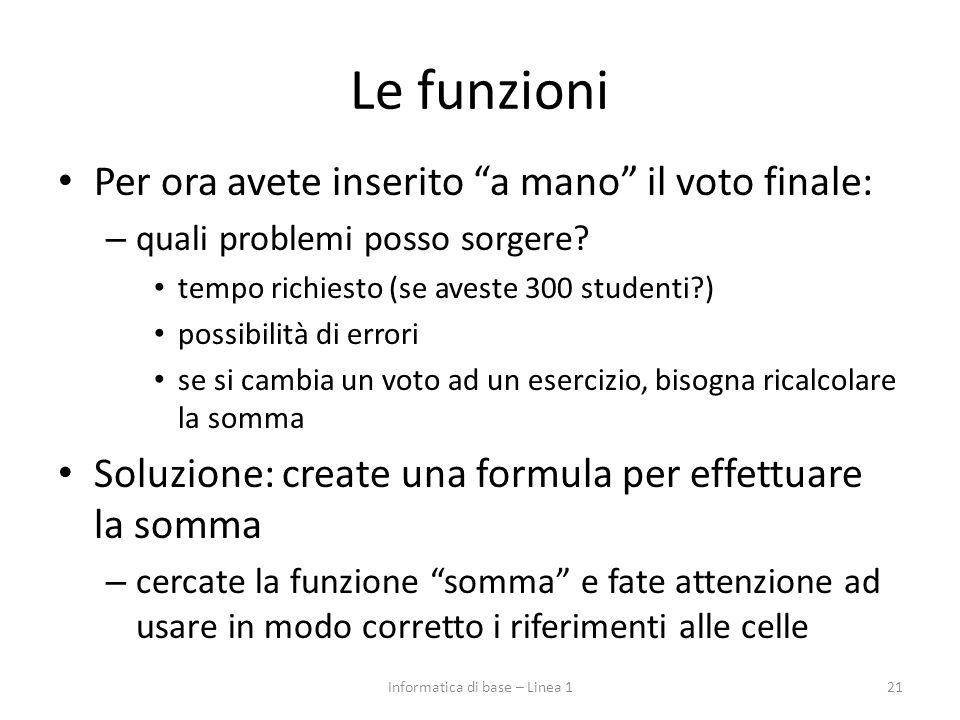 """Le funzioni Per ora avete inserito """"a mano"""" il voto finale: – quali problemi posso sorgere? tempo richiesto (se aveste 300 studenti?) possibilità di e"""