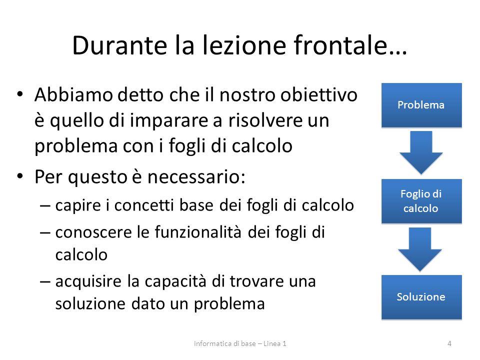 Durante la lezione frontale… Abbiamo detto che il nostro obiettivo è quello di imparare a risolvere un problema con i fogli di calcolo Per questo è ne