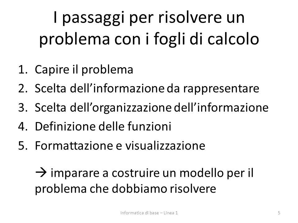 I passaggi per risolvere un problema con i fogli di calcolo 1.Capire il problema 2.Scelta dell'informazione da rappresentare 3.Scelta dell'organizzazione dell'informazione 4.Definizione delle funzioni 5.Formattazione e visualizzazione  imparare a costruire un modello per il problema che dobbiamo risolvere Informatica di base – Linea 15