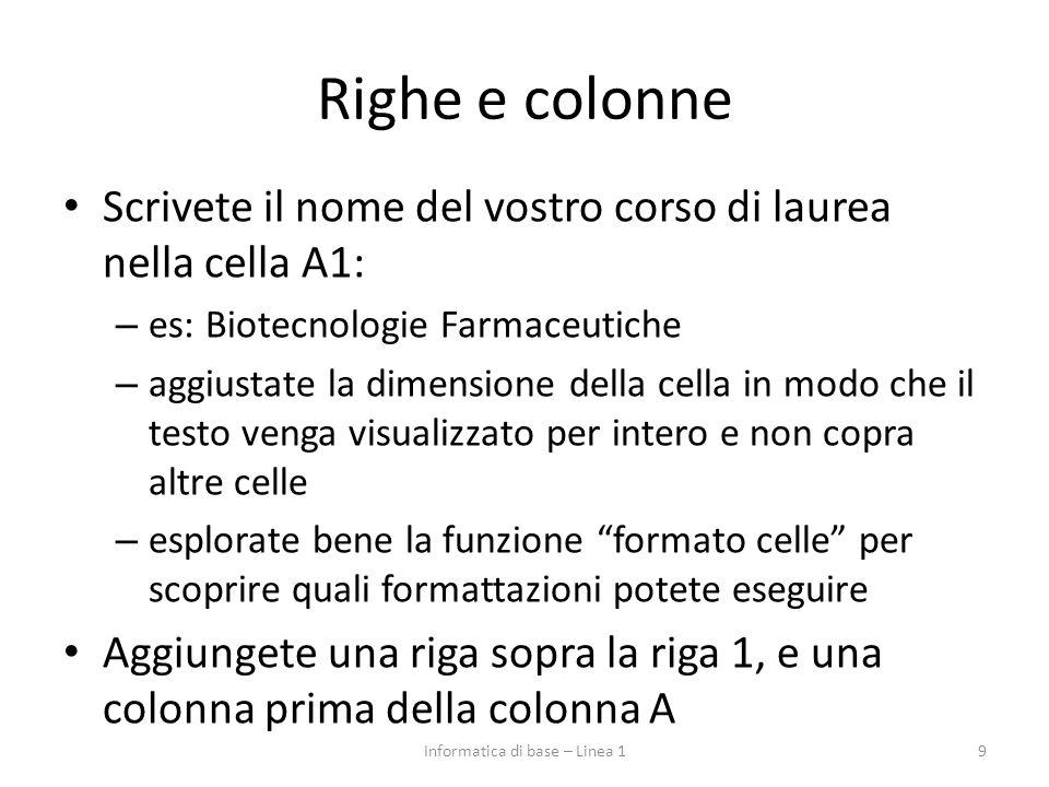 Righe e colonne Scrivete il nome del vostro corso di laurea nella cella A1: – es: Biotecnologie Farmaceutiche – aggiustate la dimensione della cella i