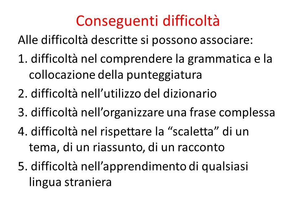 Conseguenti difficoltà Alle difficoltà descritte si possono associare: 1. difficoltà nel comprendere la grammatica e la collocazione della punteggiatu