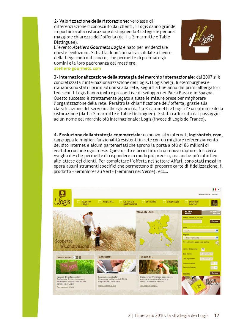 Click to edit Master text styles 17 3- Internazionalizzazione della strategia del marchio internazionale: dal 2007 si è concretizzata l'internazionalizzazione dei Logis.