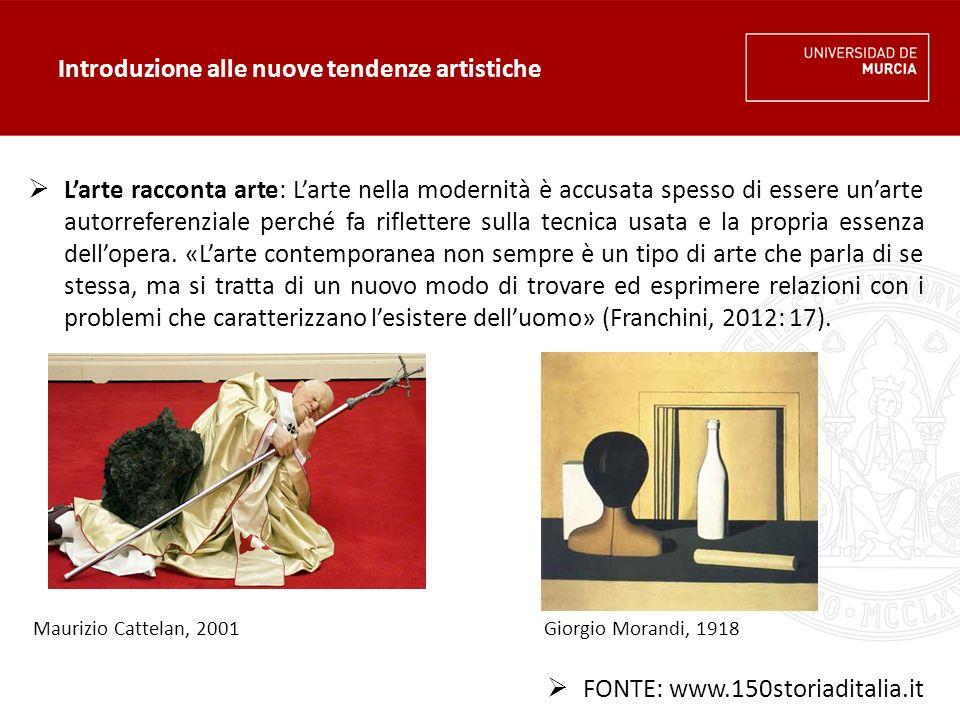 Introduzione alle nuove tendenze artistiche  L'arte racconta arte: L'arte nella modernità è accusata spesso di essere un'arte autorreferenziale perché fa riflettere sulla tecnica usata e la propria essenza dell'opera.