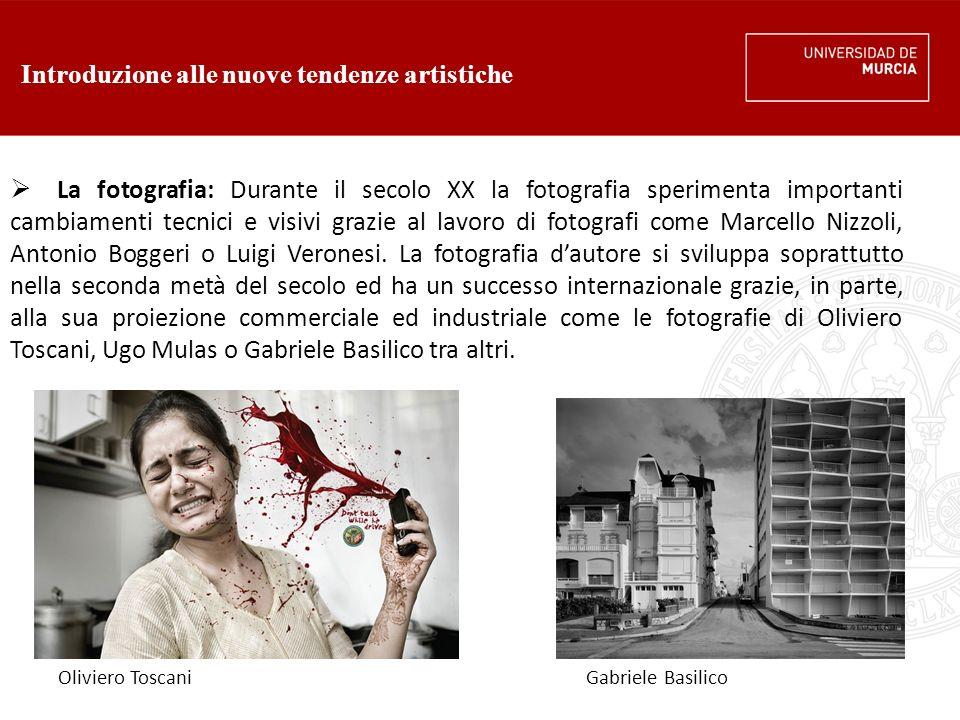 Introduzione alle nuove tendenze artistiche  La fotografia: Durante il secolo XX la fotografia sperimenta importanti cambiamenti tecnici e visivi grazie al lavoro di fotografi come Marcello Nizzoli, Antonio Boggeri o Luigi Veronesi.