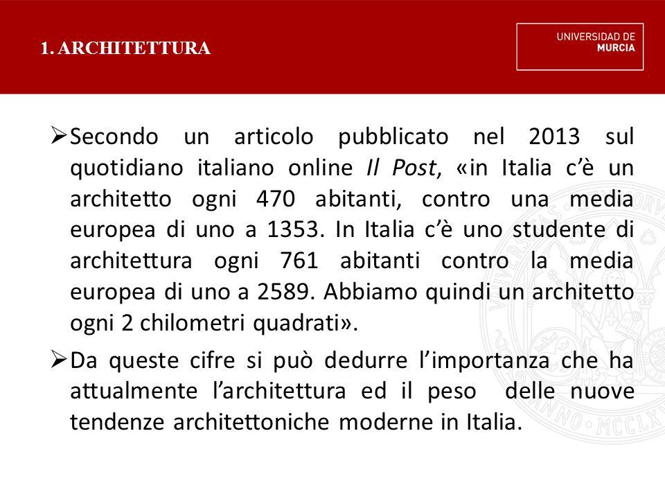 1. ARCHITETTURA  Secondo un articolo pubblicato nel 2013 sul quotidiano italiano online Il Post, «in Italia c'è un architetto ogni 470 abitanti, cont