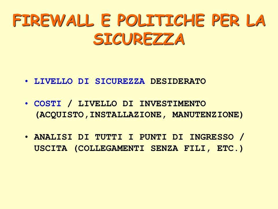 LIVELLO DI SICUREZZA DESIDERATO COSTI / LIVELLO DI INVESTIMENTO (ACQUISTO,INSTALLAZIONE, MANUTENZIONE) ANALISI DI TUTTI I PUNTI DI INGRESSO / USCITA (COLLEGAMENTI SENZA FILI, ETC.) FIREWALL E POLITICHE PER LA SICUREZZA