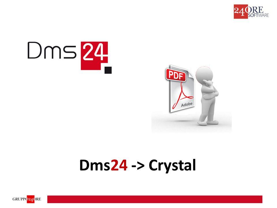 Il modulo Crystal abilita la possibilità di creare automaticamente file Pdf utilizzando un report di Crystal Report Il Dms24 utilizza il Run Time di Crystal Report che dovrà essere installato sulla stessa macchina dove c'è il Web Site.