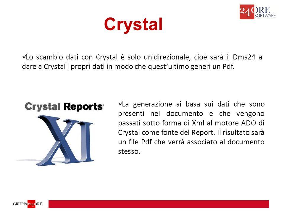 La generazione si basa sui dati che sono presenti nel documento e che vengono passati sotto forma di Xml al motore ADO di Crystal come fonte del Report.