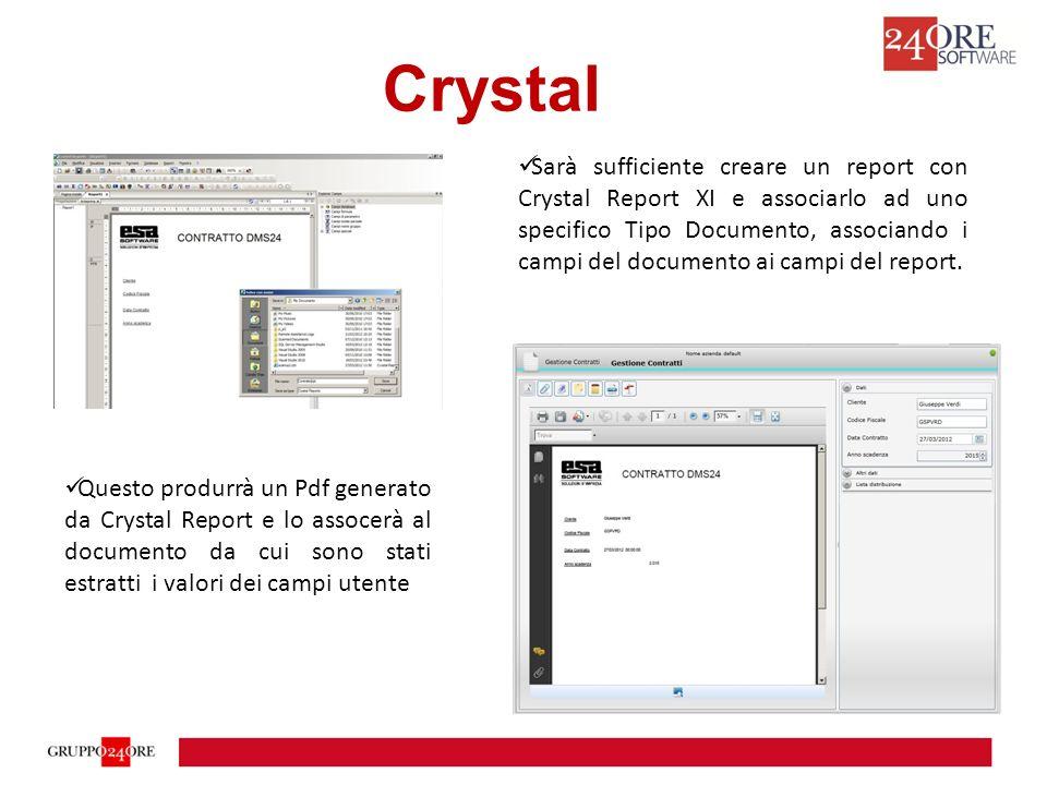 Crystal Sarà sufficiente creare un report con Crystal Report XI e associarlo ad uno specifico Tipo Documento, associando i campi del documento ai campi del report.