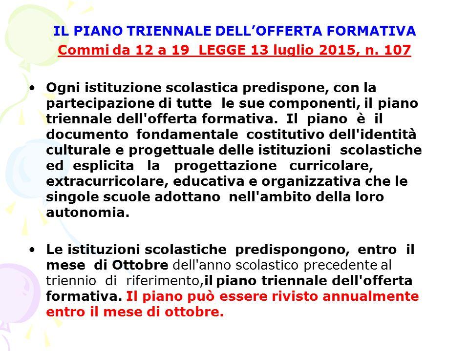 IL PIANO TRIENNALE DELL'OFFERTA FORMATIVA Commi da 12 a 19 LEGGE 13 luglio 2015, n. 107 Ogni istituzione scolastica predispone, con la partecipazione