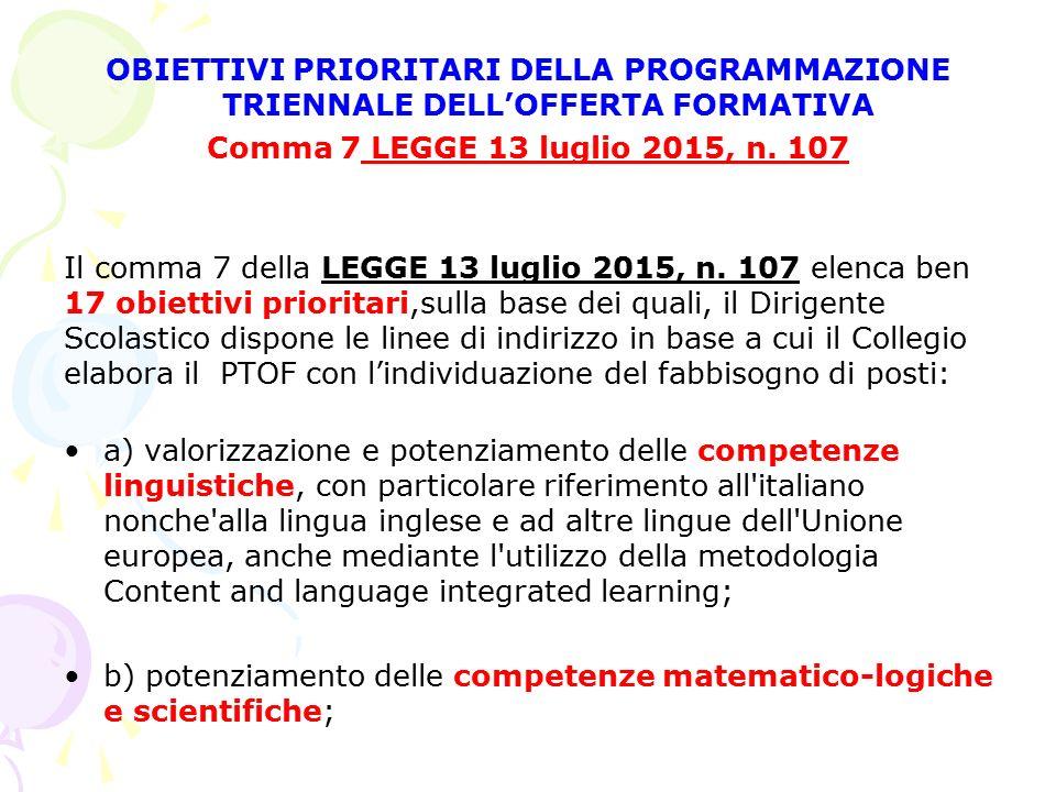 OBIETTIVI PRIORITARI DELLA PROGRAMMAZIONE TRIENNALE DELL'OFFERTA FORMATIVA Comma 7 LEGGE 13 luglio 2015, n. 107 Il comma 7 della LEGGE 13 luglio 2015,