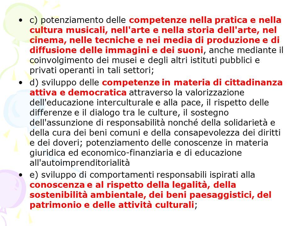 c) potenziamento delle competenze nella pratica e nella cultura musicali, nell'arte e nella storia dell'arte, nel cinema, nelle tecniche e nei media d