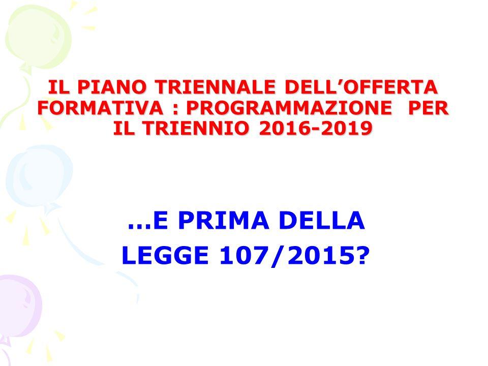 IL PIANO TRIENNALE DELL'OFFERTA FORMATIVA : PROGRAMMAZIONE PER IL TRIENNIO 2016-2019 IL PIANO TRIENNALE DELL'OFFERTA FORMATIVA : PROGRAMMAZIONE PER IL