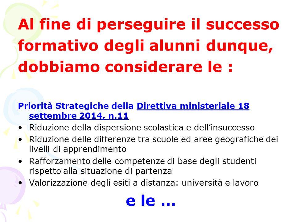 Al fine di perseguire il successo formativo degli alunni dunque, dobbiamo considerare le : Priorità Strategiche della Direttiva ministeriale 18 settem