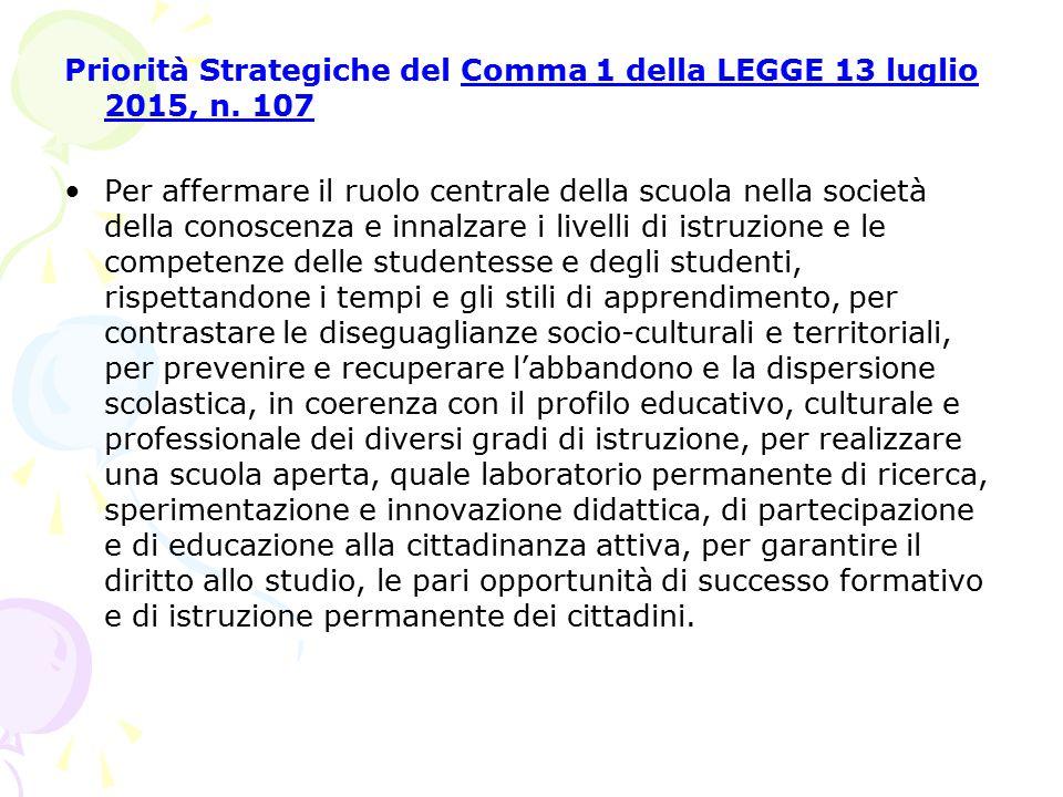 Priorità Strategiche del Comma 1 della LEGGE 13 luglio 2015, n. 107 Per affermare il ruolo centrale della scuola nella società della conoscenza e inna
