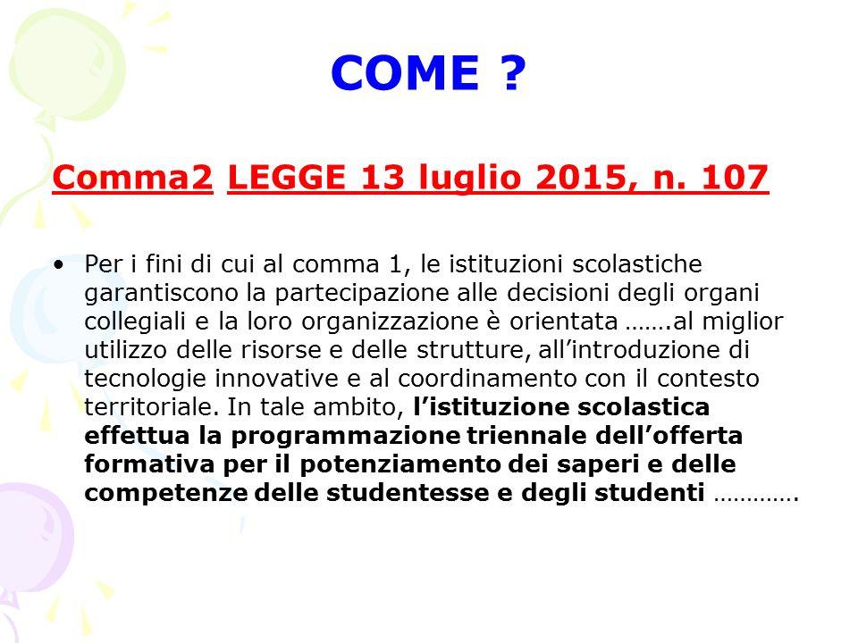 COME ? Comma2 LEGGE 13 luglio 2015, n. 107 Per i fini di cui al comma 1, le istituzioni scolastiche garantiscono la partecipazione alle decisioni degl