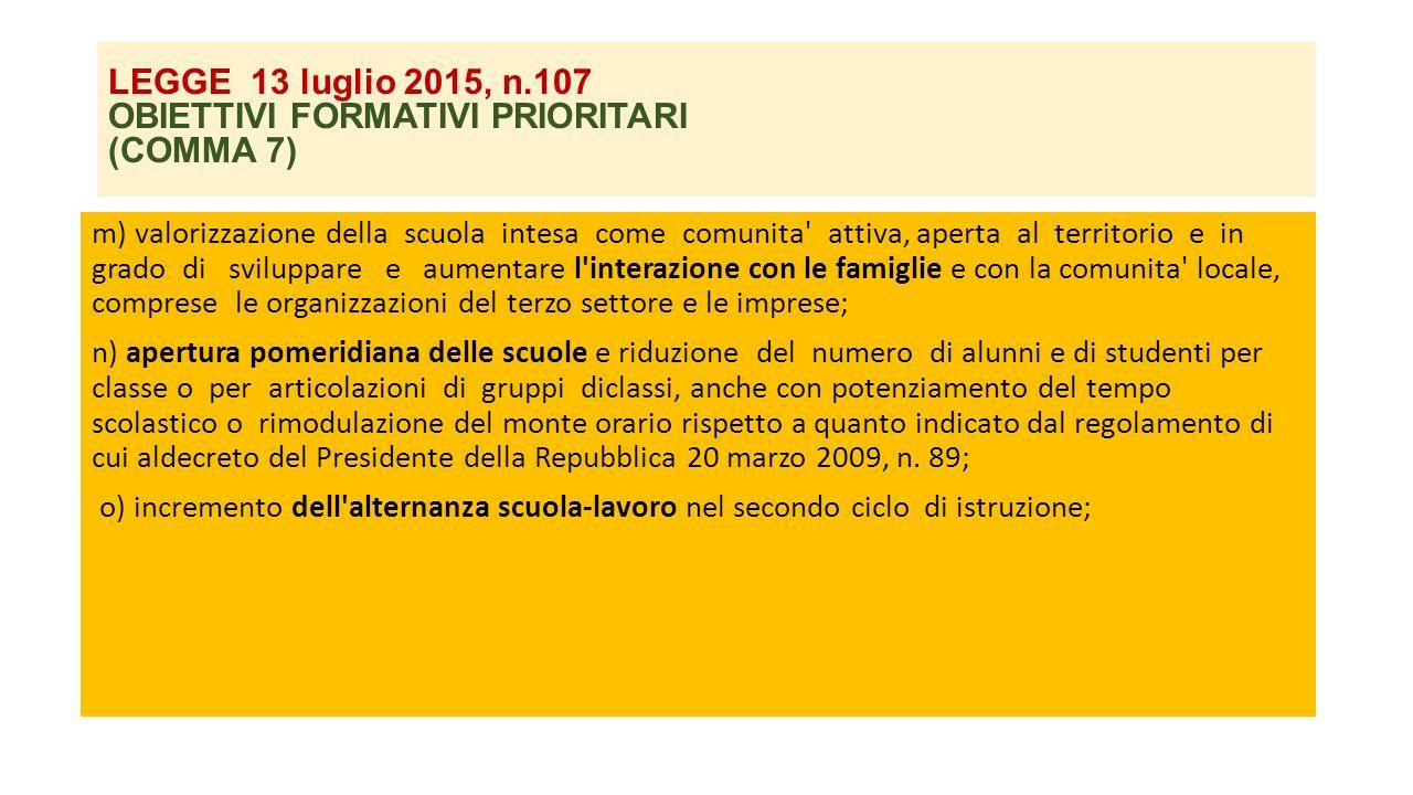 LEGGE 13 luglio 2015, n.107 OBIETTIVI FORMATIVI PRIORITARI (COMMA 7) m) valorizzazione della scuola intesa come comunita' attiva, aperta al territorio