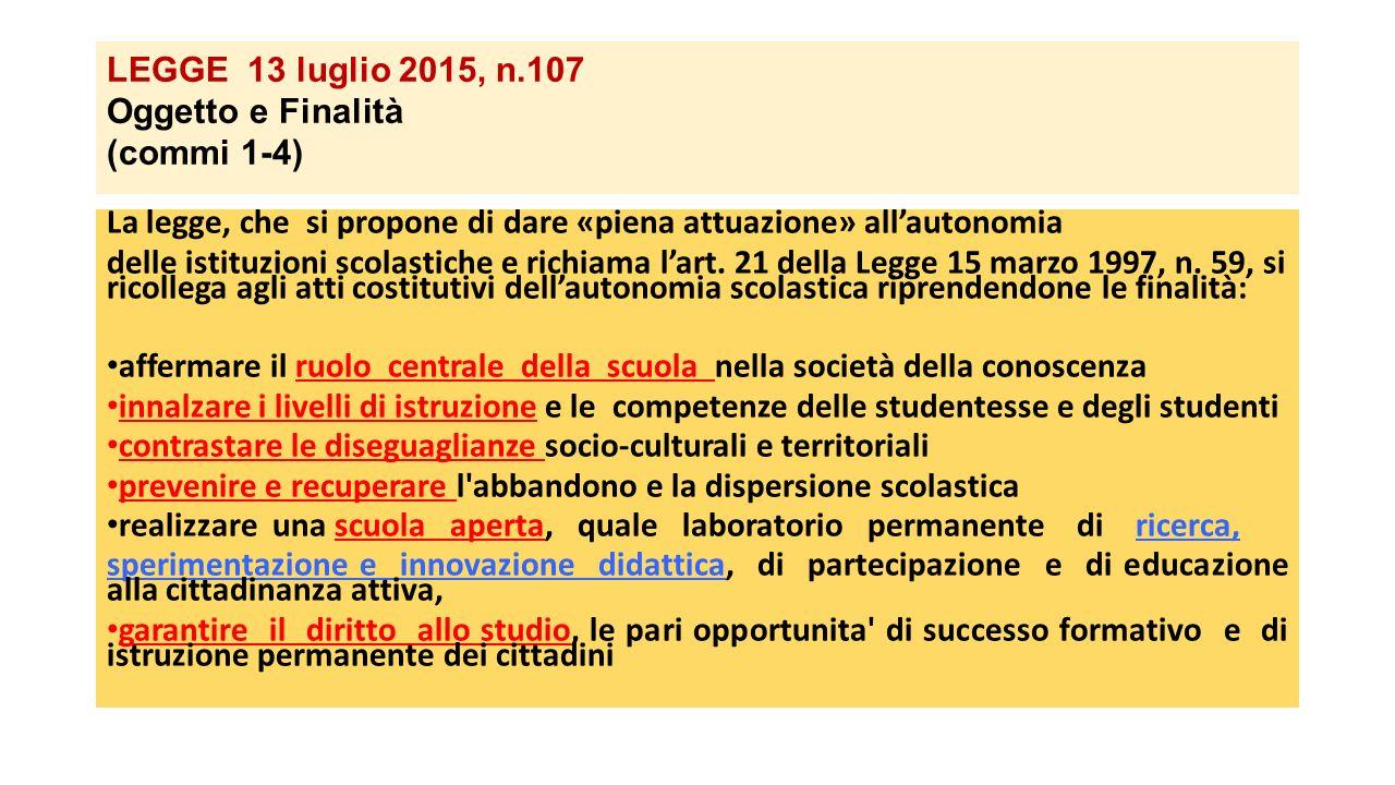 LEGGE 13 luglio 2015, n.107 Oggetto e Finalità (commi 1-4) La legge, che si propone di dare «piena attuazione» all'autonomia delle istituzioni scolast