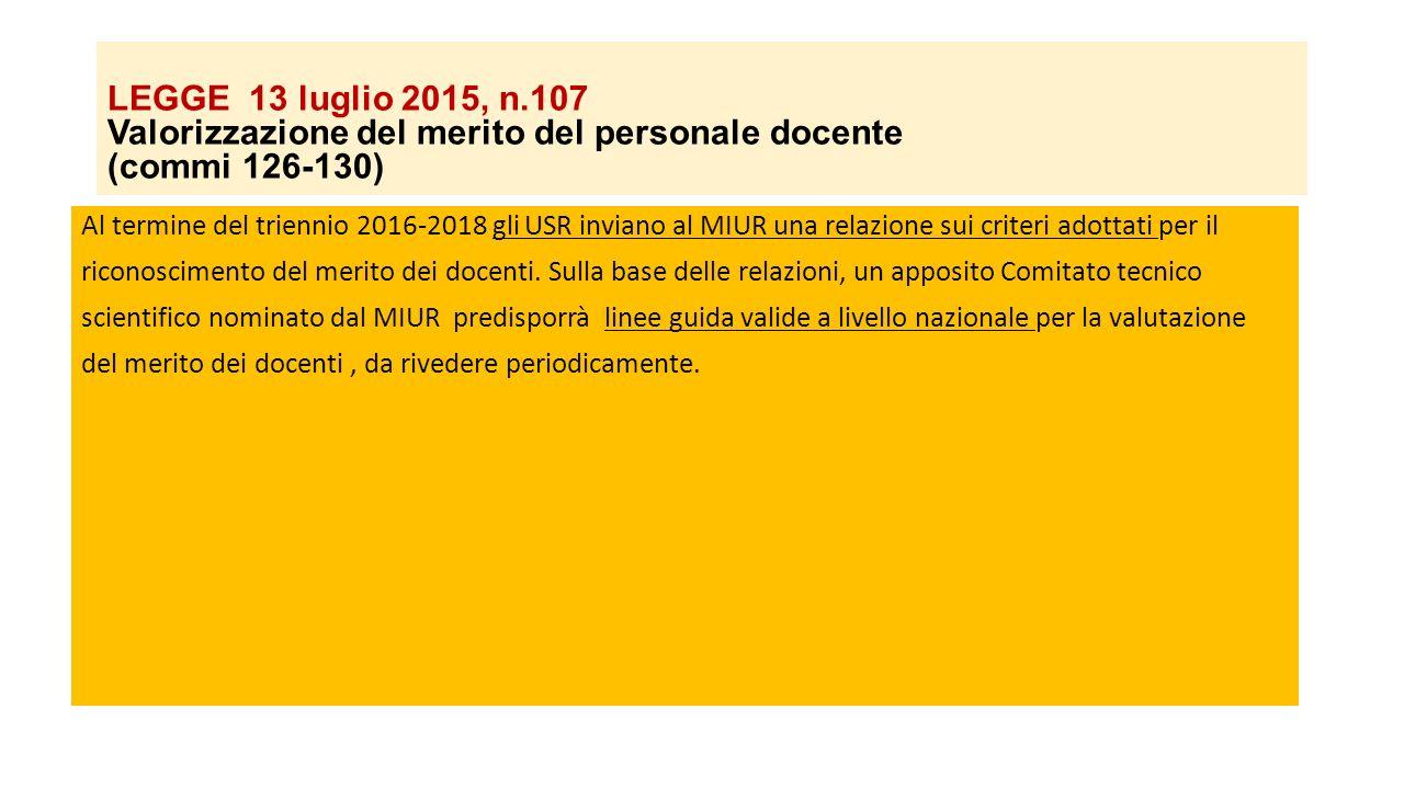 LEGGE 13 luglio 2015, n.107 Valorizzazione del merito del personale docente (commi 126-130) Al termine del triennio 2016-2018 gli USR inviano al MIUR