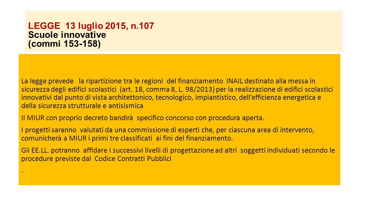 LEGGE 13 luglio 2015, n.107 Scuole innovative (commi 153-158) La legge prevede la ripartizione tra le regioni del finanziamento INAIL destinato alla m