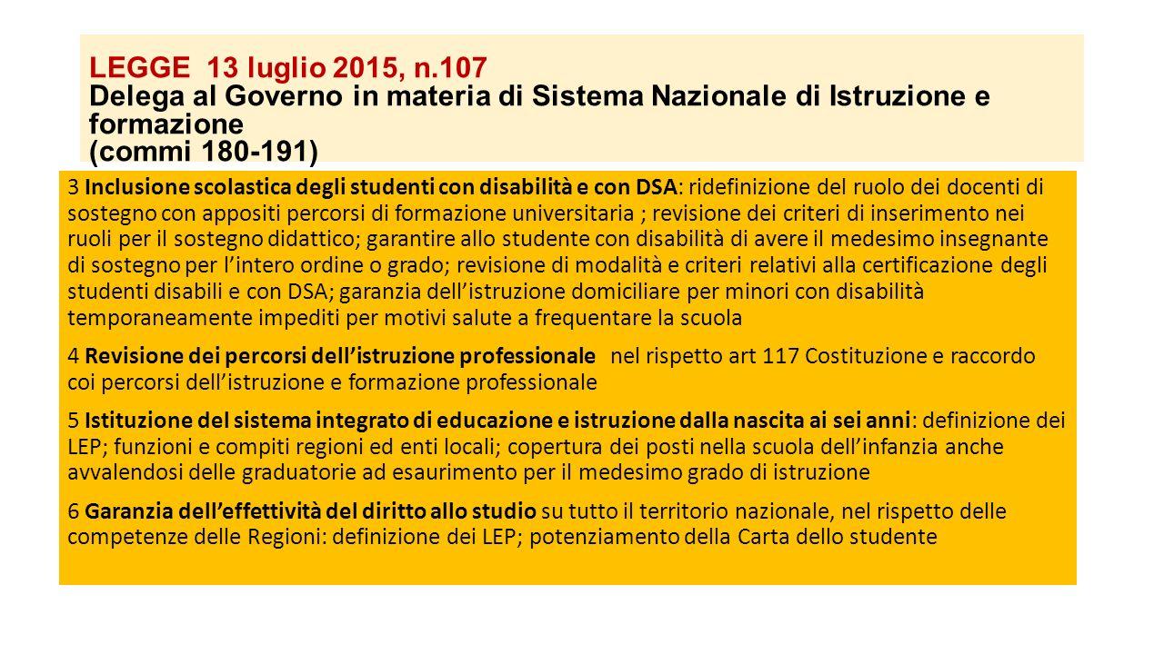 LEGGE 13 luglio 2015, n.107 Delega al Governo in materia di Sistema Nazionale di Istruzione e formazione (commi 180-191) 3 Inclusione scolastica degli